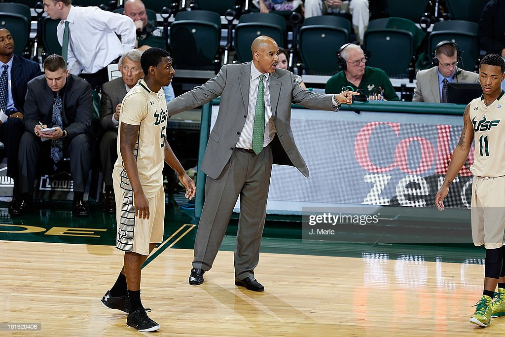Head coach Stan Heath of the South Florida Bulls directs his team against the Louisville Cardinals during the game at the Sun Dome on February 17, 2013 in Tampa, Florida.