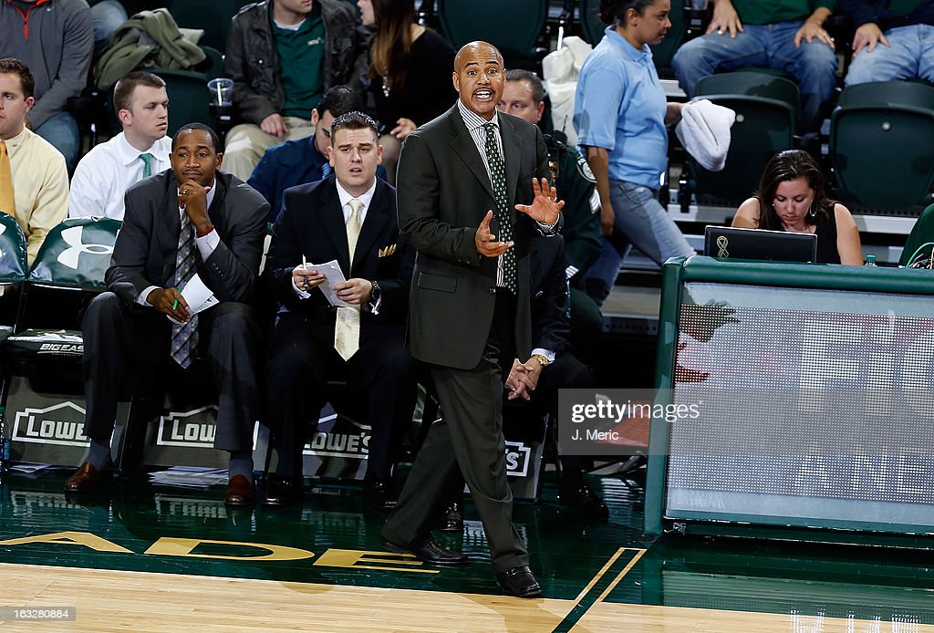 Head coach Stan Heath of the South Florida Bulls directs his team against the Connecticut Huskies during the game at the Sun Dome on March 6, 2013 in Tampa, Florida.