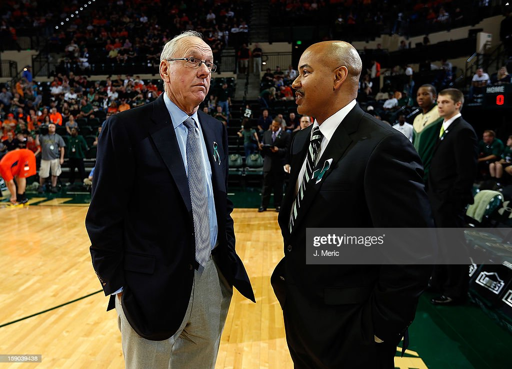 Head coach Stan Heath of the South Florida Bulls (right) talks with head coach Jim Boeheim of the Syracuse Orange just before the start of the game at the Sun Dome on January 6, 2013 in Tampa, Florida.