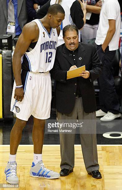 Head coach Stan Van Gundy of the Orlando Magic instructs Dwight Howard in Game Four of the 2009 NBA Finals against the Los Angeles Lakers on June 11...
