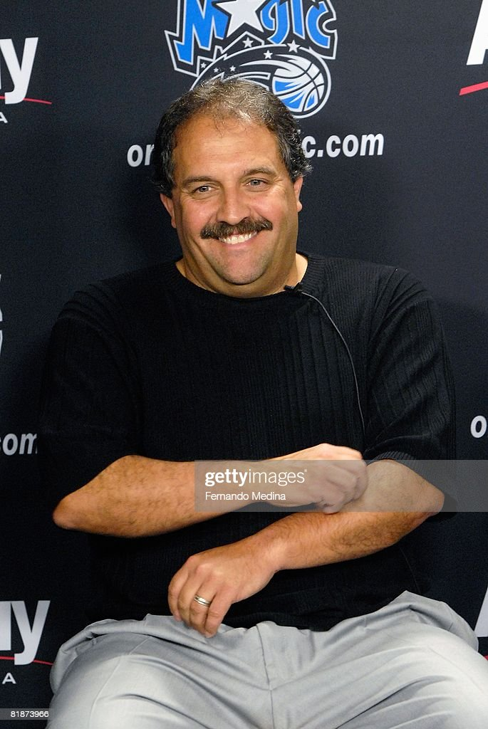 Head coach Stan Van Gundy of the Orlando Magic smiles during the press conference for 2008 NBA first round draft pick Courtney Lee (22nd overall) of the Orlando Magic at the RDV Sportsplex on June 27, 2008 in Maitland, Florida.