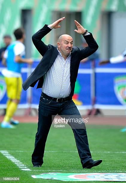 Head coach Stanislav Cherchesov of FC Terek Grozny gestures during the Russian Premier League match between FC Terek Grozny and FC Anzhi Makhachkala...