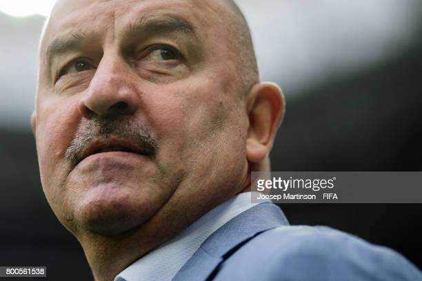 Head coach Stanislav Cherchesov of Russia looks on during the FIFA Confederations Cup Russia 2017 group A football match between Mexico and Russia at...