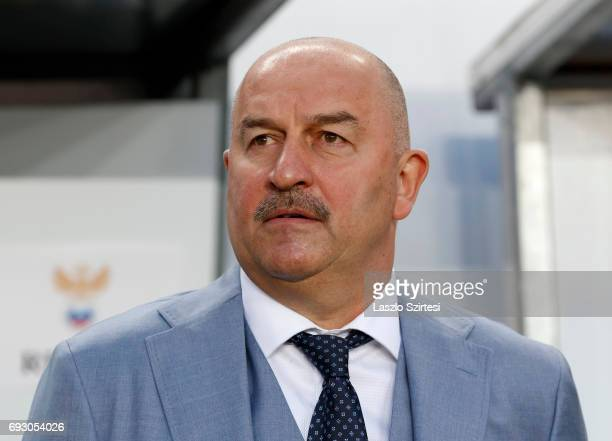 Head coach Stanislav Cherchesov of Russia waits for the kickoff prior to the International Friendly match between Hungary and Russia at Groupama...