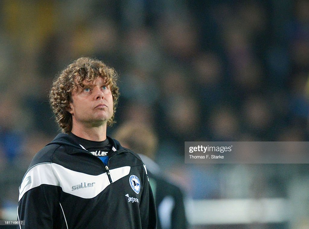 Head coach Stefan Kraemer of Bielefeld reacts during the DFB Cup match between Arminia Bielefeld and Bayer 04 Leverkusen at Schueco Arena on September 24, 2013 in Bielefeld, Germany.