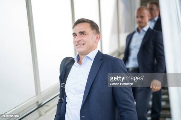 Head coach Stefan Kuntz departs a Lufthansa plane carrying the Germany U21 National Team at Frankfurt International Airport on July 1 2017 in...