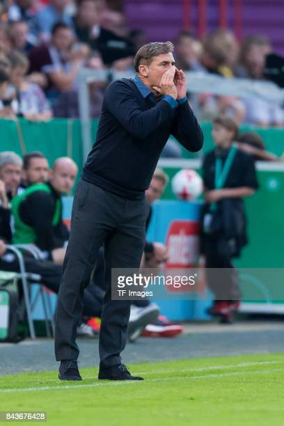 Head coach Stefan Kuntz of Germany gestures during the U21 UEFA 2018 EM Qualifying match between Germany and Kosovo at the Stadion Bremer Bruecken in...