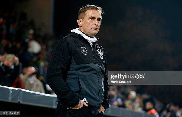 Head coach Stefan Kuntz of Germany looks on prior to the International Friendly between U21 Germany and U21 Turkey at Stadion An der Alten Foersterei...