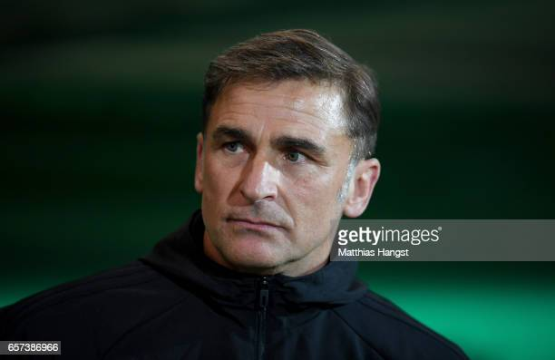 Head coach Stefan Kuntz of Germany smiles prior to the U21 international friendly match between Germany and England at BRITAArena on March 24 2017 in...