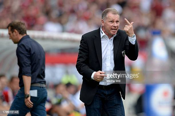 Head coach Stefan Reuter of Augsburg reacts during the Bundesliga match between 1 FC Nuernberg and FC Augsburg at Grundig Stadium on August 31 2013...