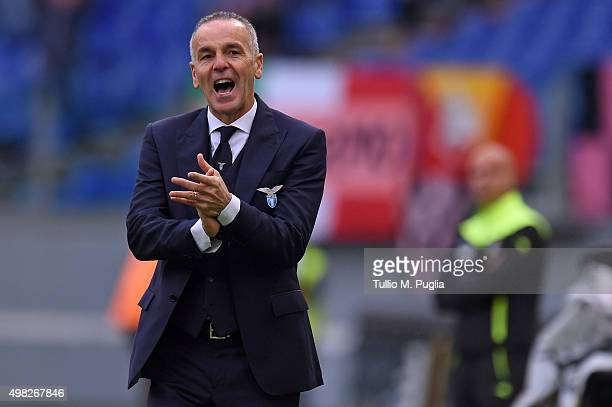 Head coach Stefano Pioli of Lazio claps hands during the Serie A match between SS Lazio and US Citta di Palermo at Stadio Olimpico on November 22...