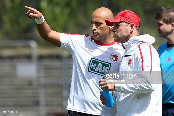 Head coach Steffen Baumgart of Berlin and Zafer Yelen look on during the Regionalliga Nordost match between Berliner AK and ZFC Meuselwitz at...