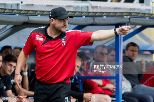 Head coach Steffen Baumgart of Paderborn gestures during the preseason friendly match between SC Paderborn and FC Schalke 04 at BentelerArena on July...