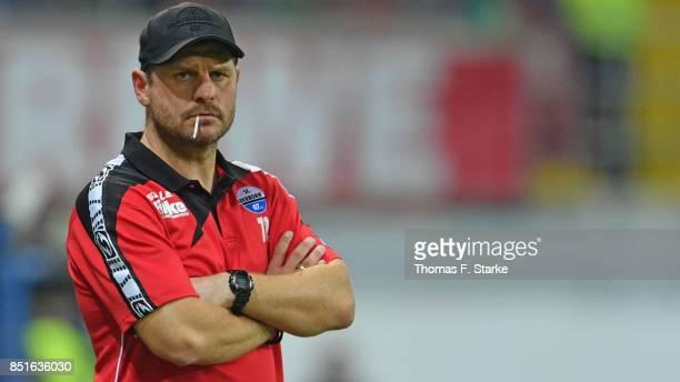 Head coach Steffen Baumgart of Paderborn looks on during the 3 Liga match between SC Paderborn 07 and FC Hansa Rostock at Benteler Arena on September...
