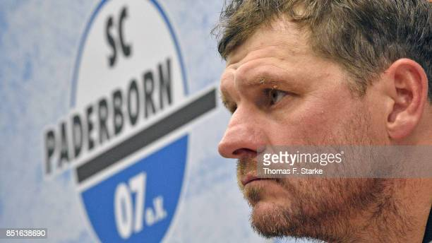 Head coach Steffen Baumgart of Paderborn reacts at the press conference after the 3 Liga match between SC Paderborn 07 and FC Hansa Rostock at...