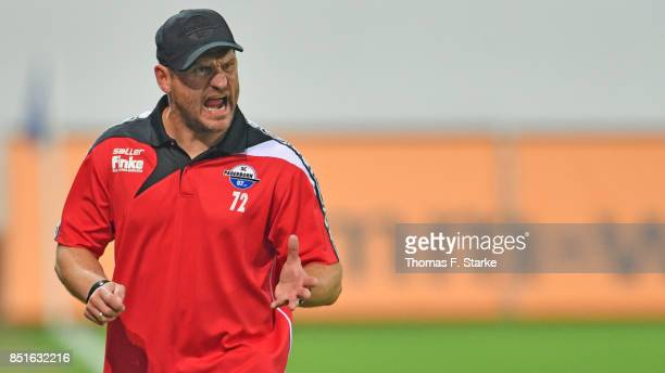 Head coach Steffen Baumgart of Paderborn reacts during the 3 Liga match between SC Paderborn 07 and FC Hansa Rostock at Benteler Arena on September...