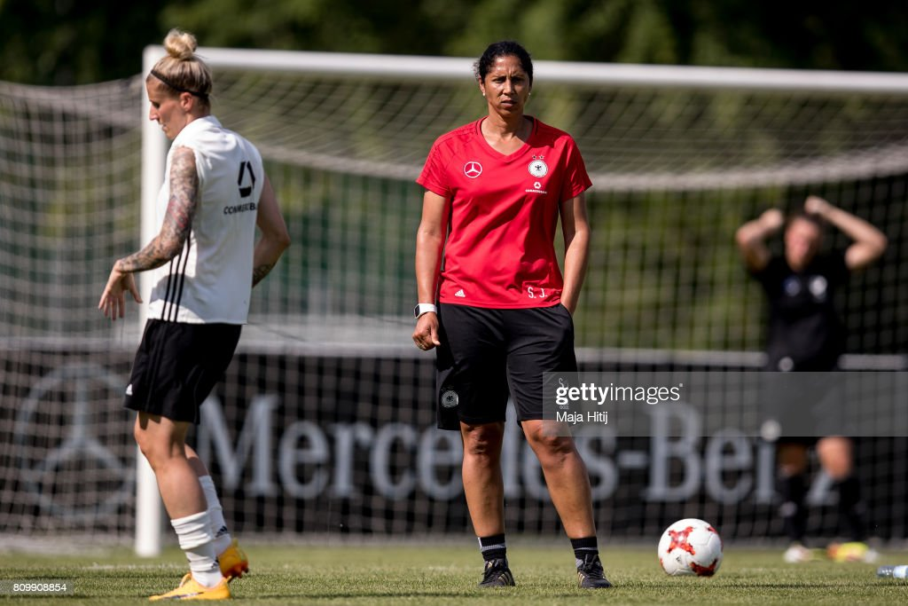 Head Coach Steffi Jones looks on during the training session on July 6, 2017 in Heidelberg, Germany.