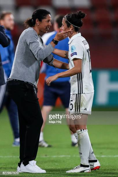 Head Coach Steffi Jones of Germany and Sara Doorsoun after the Group B match between Russia and Germany during the UEFA Women's Euro 2017 at Stadion...