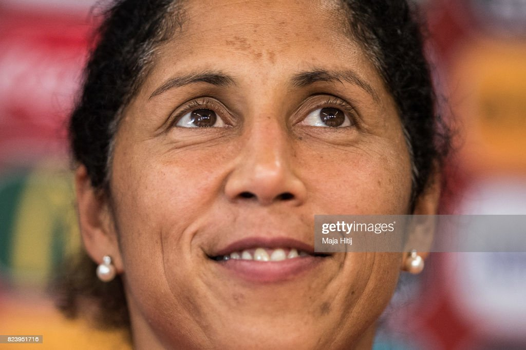 Head Coach Steffi Jones of Germany looks on during a press conference prior the Quarter Final on July 28, 2017 in Rotterdam, Netherlands.