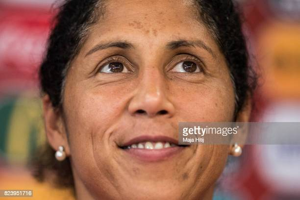 Head Coach Steffi Jones of Germany looks on during a press conference prior the Quarter Final on July 28 2017 in Rotterdam Netherlands