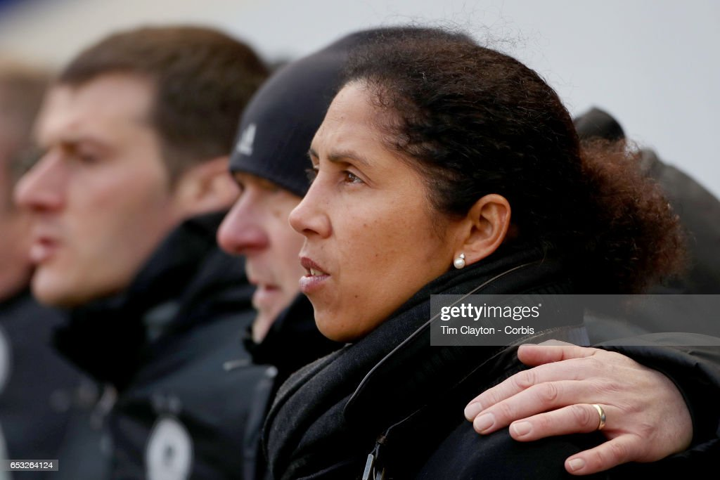 Head coach Steffi Jones of Germany on the sideline during the France Vs Germany SheBelieves Cup International match at Red Bull Arena on March 4, 2017 in Harrison, New Jersey.