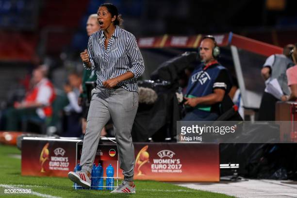 Head Coach Steffi Jones of Germany reacts during the UEFA Women's Euro 2017 at Koning Willem II Stadium on July 21 2017 in Tilburg Netherlands