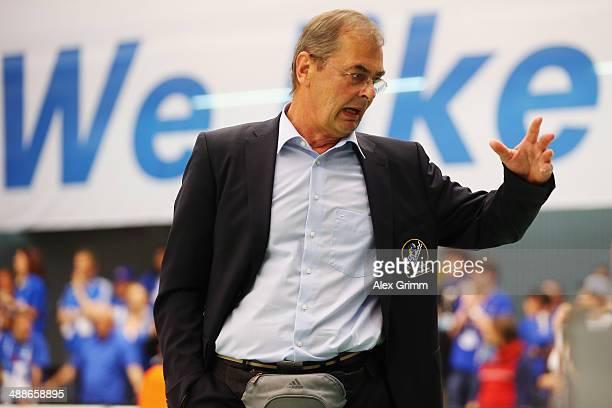 Head coach Stelian Moculescu of Friedrichshafen reacts during game four of the DVL Volleyball Playoff Finals between VfB Friedrichshafen and Berlin...