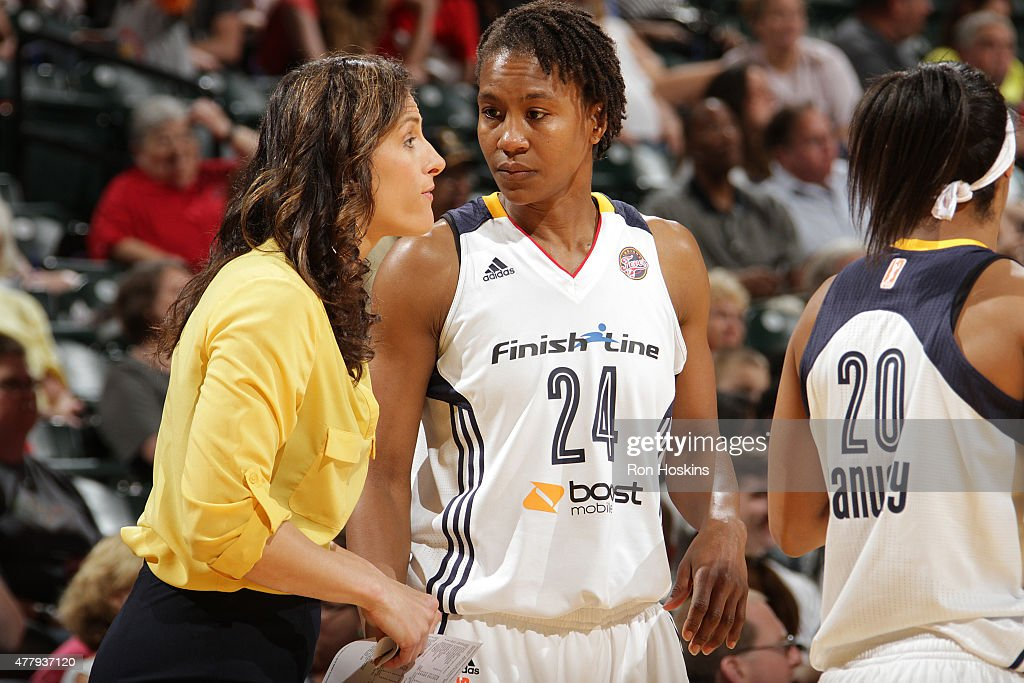 Head coach <a gi-track='captionPersonalityLinkClicked' href=/galleries/search?phrase=Stephanie+White&family=editorial&specificpeople=225118 ng-click='$event.stopPropagation()'>Stephanie White</a> talks with <a gi-track='captionPersonalityLinkClicked' href=/galleries/search?phrase=Tamika+Catchings&family=editorial&specificpeople=202220 ng-click='$event.stopPropagation()'>Tamika Catchings</a> #24 of the Indiana Fever in a WNBA game against the Washington Mystics on June 20, 2015 at Bankers Life Fieldhouse in Indianapolis, Indiana.