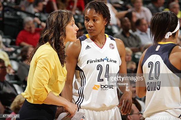 Head coach Stephanie White talks with Tamika Catchings of the Indiana Fever in a WNBA game against the Washington Mystics on June 20 2015 at Bankers...