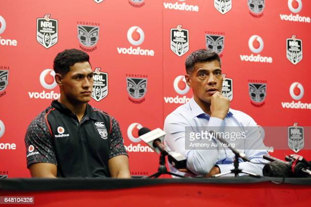 Head Coach Stephen Kearney and Roger TuivasaSheck of the Warriors talk to the media after the round one NRL match between the New Zealand Warriors...