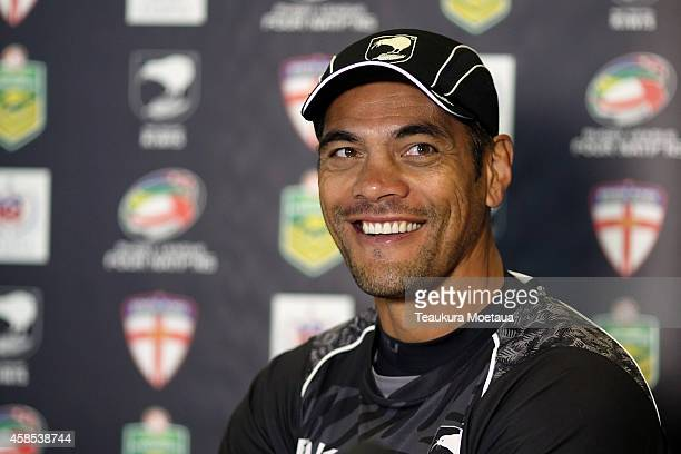 Head Coach Stephen Kearney looks on during a New Zealand Kiwis Media Conference at Forsyth Barr Stadium on November 7 2014 in Dunedin New Zealand