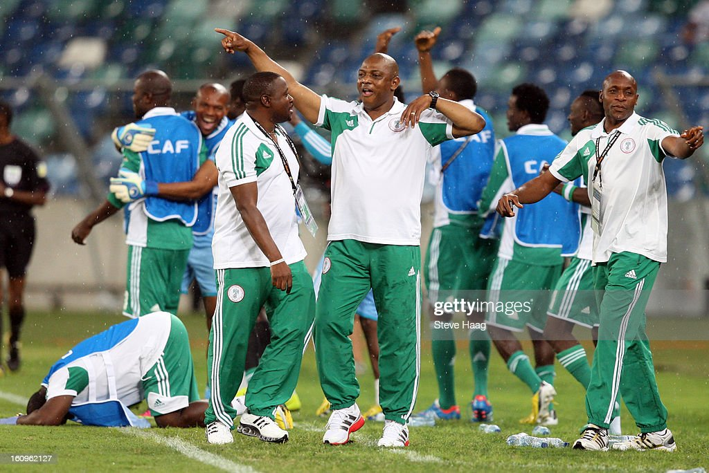 Head coach, Stephen Keshi of Nigeria celebrating after his teams 4th goal during the 2013 African Cup of Nations Semi-Final match between Mali and Nigeria at Moses Mahbida Stadium on February 06, 2013 in Durban, South Africa.
