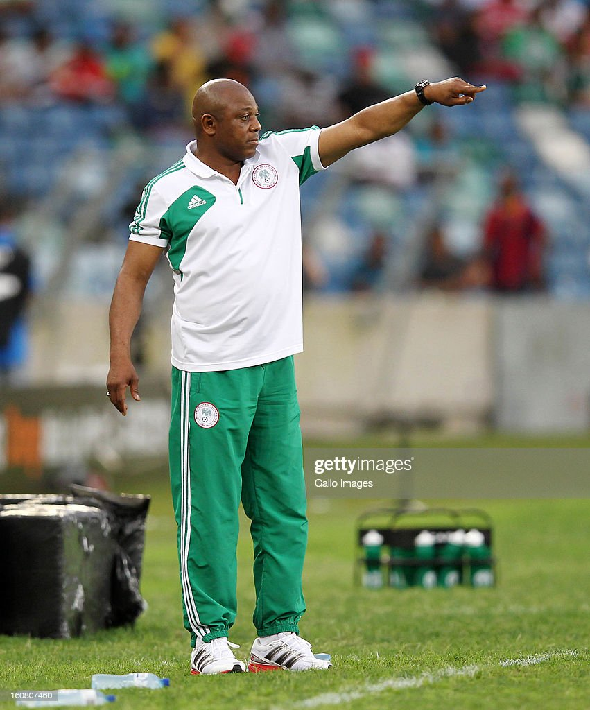 Head coach <a gi-track='captionPersonalityLinkClicked' href=/galleries/search?phrase=Stephen+Keshi&family=editorial&specificpeople=774165 ng-click='$event.stopPropagation()'>Stephen Keshi</a> of Nigeria gestures during the 2013 Orange African Cup of Nations 1st Semi Final match between Mali and Nigeria at Moses Mabhida Stadium on February 06, 2013 in Durban, South Africa.
