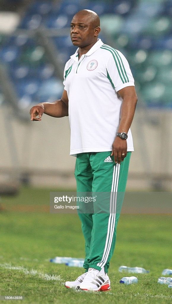 Head coach Stephen Keshi of Nigeria looks on during the 2013 African Cup of Nations Semi-Final match between Mali and Nigeria at Moses Mahbida Stadium on February 06, 2013 in Durban, South Africa.
