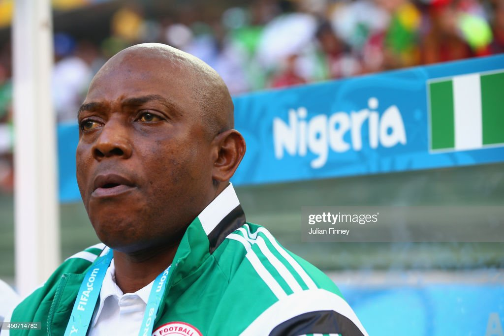 Head coach <a gi-track='captionPersonalityLinkClicked' href=/galleries/search?phrase=Stephen+Keshi&family=editorial&specificpeople=774165 ng-click='$event.stopPropagation()'>Stephen Keshi</a> of Nigeria looks on during the 2014 FIFA World Cup Brazil Group F match between Iran and Nigeria at Arena da Baixada on June 16, 2014 in Curitiba, Brazil.