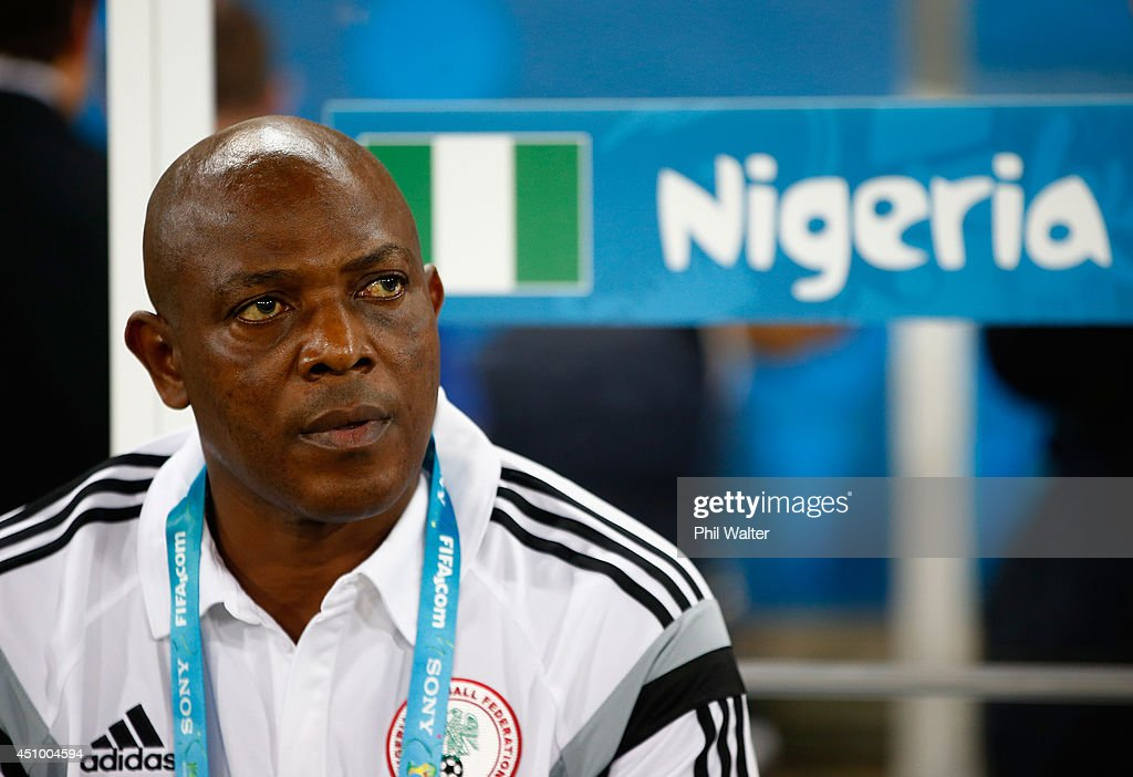 Head coach <a gi-track='captionPersonalityLinkClicked' href=/galleries/search?phrase=Stephen+Keshi&family=editorial&specificpeople=774165 ng-click='$event.stopPropagation()'>Stephen Keshi</a> of Nigeria looks on during the 2014 FIFA World Cup Group F match between Nigeria and Bosnia-Herzegovina at Arena Pantanal on June 21, 2014 in Cuiaba, Brazil.