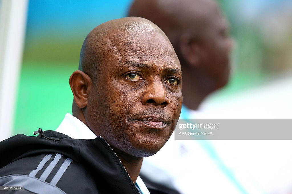 Head coach <a gi-track='captionPersonalityLinkClicked' href=/galleries/search?phrase=Stephen+Keshi&family=editorial&specificpeople=774165 ng-click='$event.stopPropagation()'>Stephen Keshi</a> of Nigeria reacts during the 2014 FIFA World Cup Brazil Group F match between Nigeria and Argentina at Estadio Beira-Rio on June 25, 2014 in Porto Alegre, Brazil.
