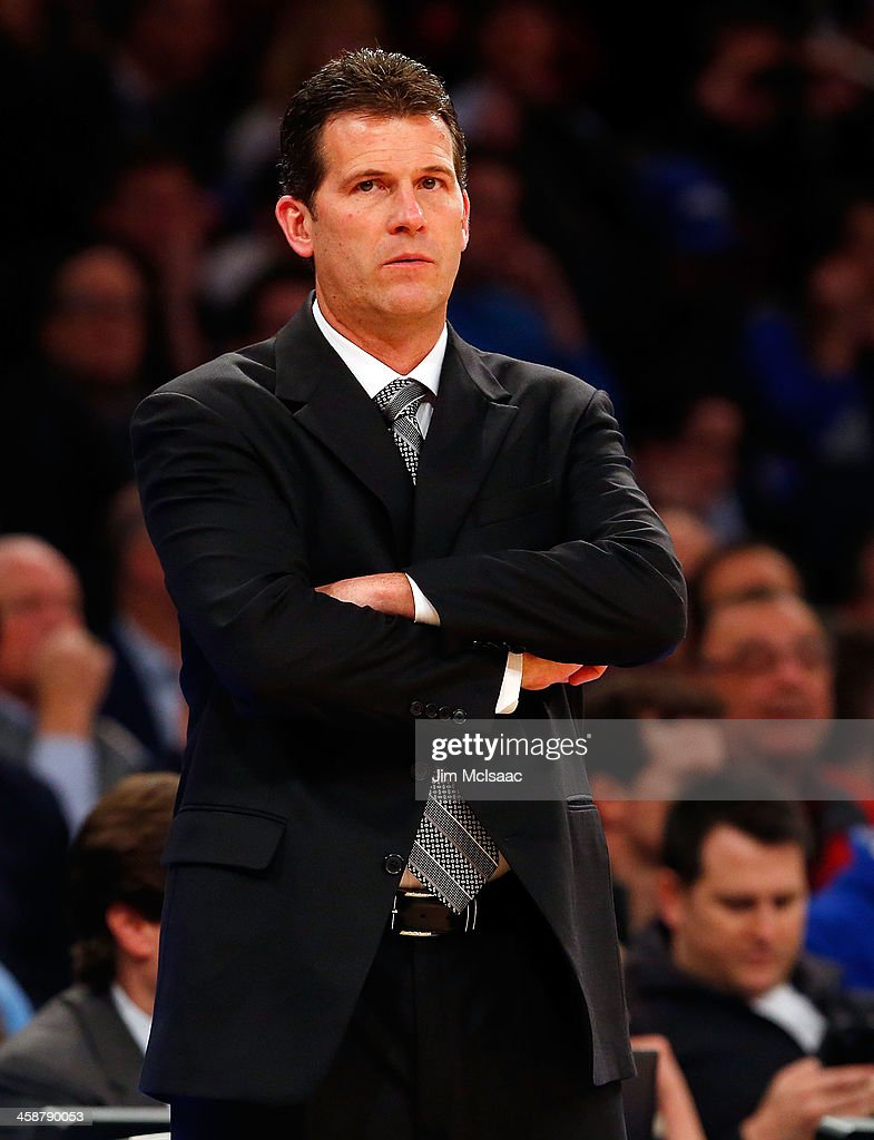 Head coach Steve Alford of the UCLA Bruins in action against the Duke Blue Devils during the CARQUEST Auto Parts Classic on December 19, 2013 at Madison Square Garden in New York City. Duke defeated UCLA