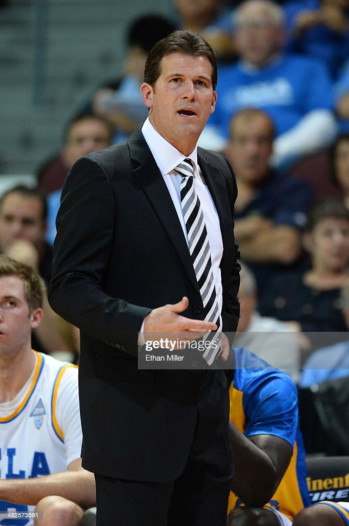 Head coach <a gi-track='captionPersonalityLinkClicked' href=/galleries/search?phrase=Steve+Alford&family=editorial&specificpeople=233486 ng-click='$event.stopPropagation()'>Steve Alford</a> of the UCLA Bruins watches his players take on the Northwestern Wildcats during the Continental Tire Las Vegas Invitational at the Orleans Arena on November 29, 2013 in Las Vegas, Nevada. UCLA won 95-79.