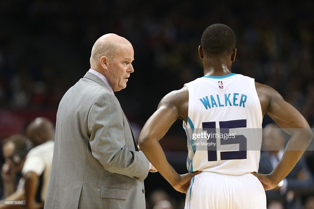 Head Coach Steve Clifford and Kemba Walker chats of the Charlotte Hornets against the Los Angeles Clippers as part of the 2015 NBA Global Games China at the Mercedes-Benz Arena on October 14, 2015 in Shanghai, China.