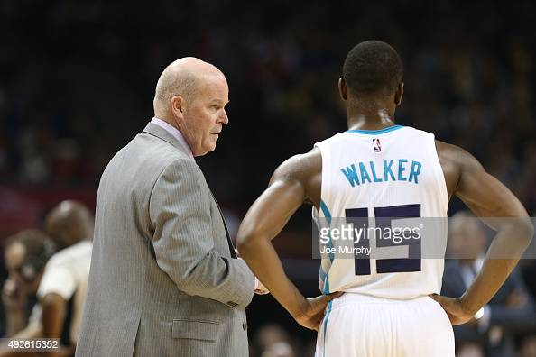 Head Coach Steve Clifford and Kemba Walker chats of the Charlotte Hornets against the Los Angeles Clippers as part of the 2015 NBA Global Games China...
