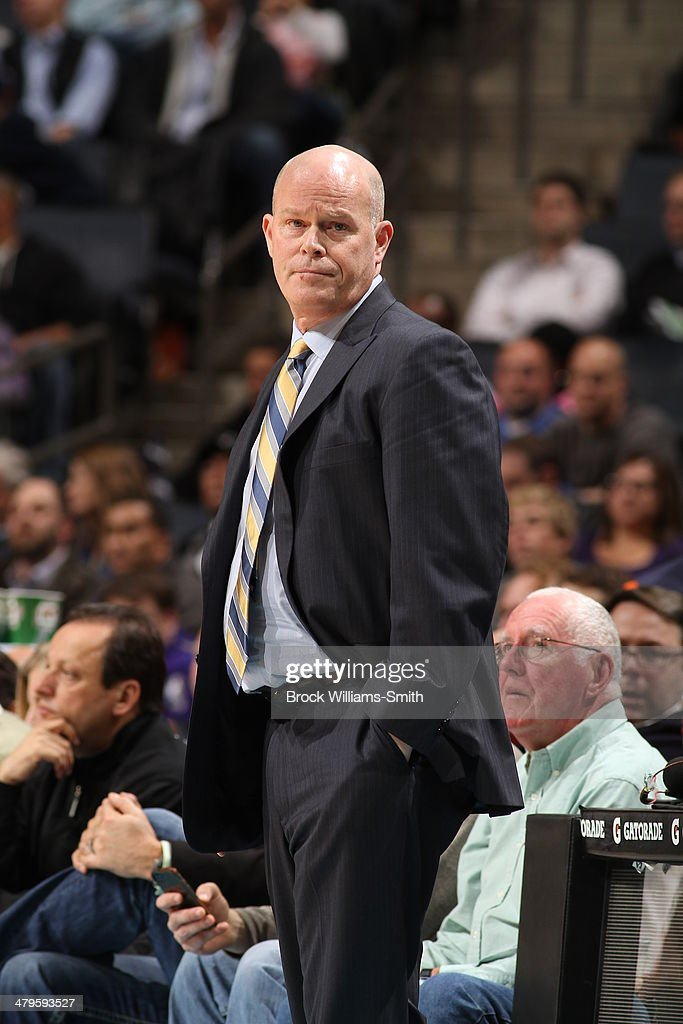 Head coach Steve Clifford of the Atlanta Hawks coaches during the game against the Charlotte Bobcats at the Time Warner Cable Arena on March 17, 2014 in Charlotte, North Carolina.