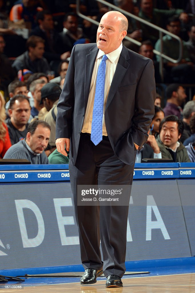 Head coach Steve Clifford of the Charlotte Bobcats coaches in the first half against the New York Knicks during the game on November 5, 2013 at Madison Square Garden in New York City, New York.
