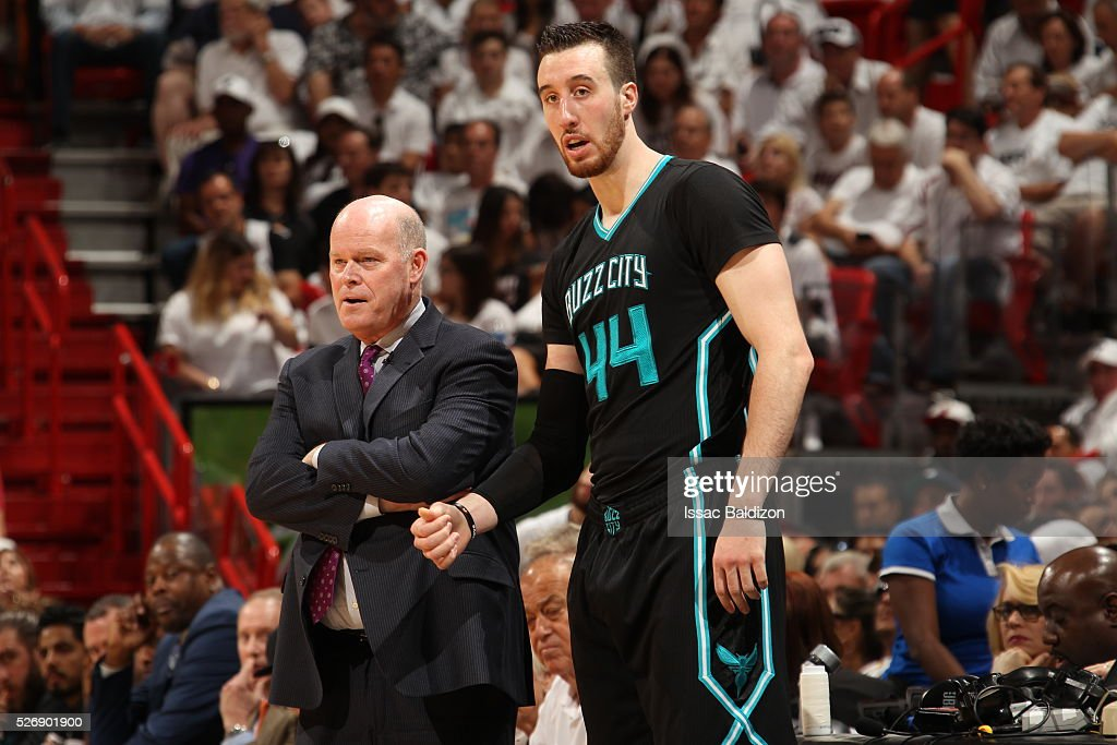 Head coach <a gi-track='captionPersonalityLinkClicked' href=/galleries/search?phrase=Steve+Clifford+-+Coach&family=editorial&specificpeople=10957372 ng-click='$event.stopPropagation()'>Steve Clifford</a> of the Charlotte Hornets and <a gi-track='captionPersonalityLinkClicked' href=/galleries/search?phrase=Frank+Kaminsky&family=editorial&specificpeople=8685398 ng-click='$event.stopPropagation()'>Frank Kaminsky</a> III #44 of the Charlotte Hornets talk in Game Seven of the Eastern Conference Quarterfinals against the Miami Heat during the 2016 NBA Playoffs on May 1, 2016 at American Airlines Arena in Miami, Florida.