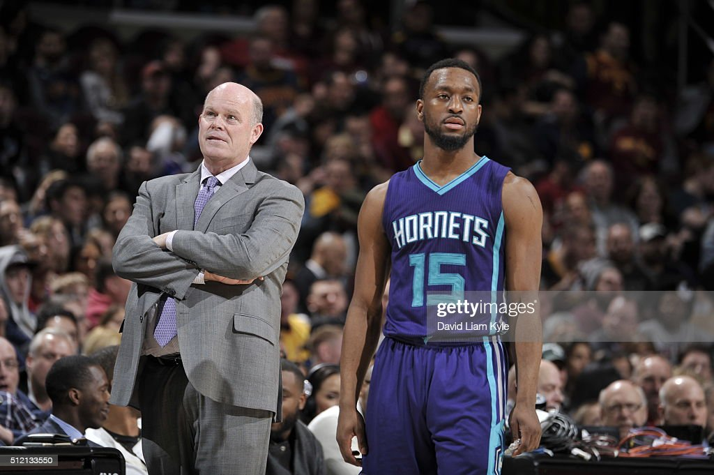 Head Coach Steve Clifford of the Charlotte Hornets and Kemba Walker of the Charlotte Hornets looks on during the game against the Cleveland Cavaliers...