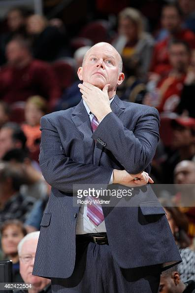 Head Coach Steve Clifford of the Charlotte Hornets coaches against the Cleveland Cavaliers on January 23 2015 at Quicken Loans Arena in Cleveland...