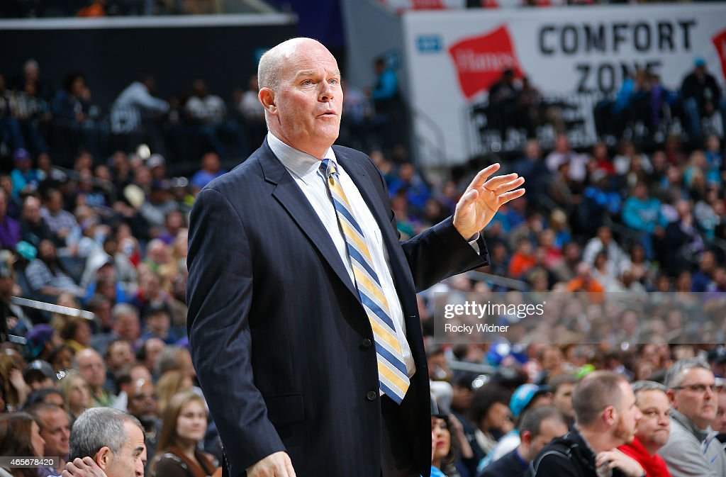 Head Coach Steve Clifford of the Charlotte Hornets coaches against the Toronto Raptors on March 6 2015 at Time Warner Cable Arena in Charlotte North...