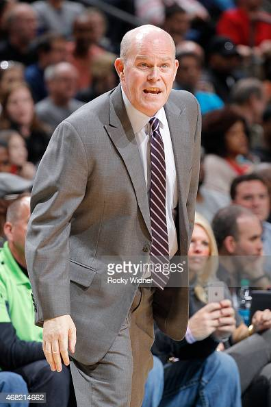Head Coach Steve Clifford of the Charlotte Hornets coaches against the Atlanta Hawks on March 28 2015 at Time Warner Cable Arena in Charlotte North...