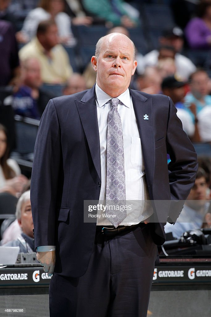 Head Coach Steve Clifford of the Charlotte Hornets coaches against the Detroit Pistons on April 1 2015 at Time Warner Cable Arena in Charlotte North...