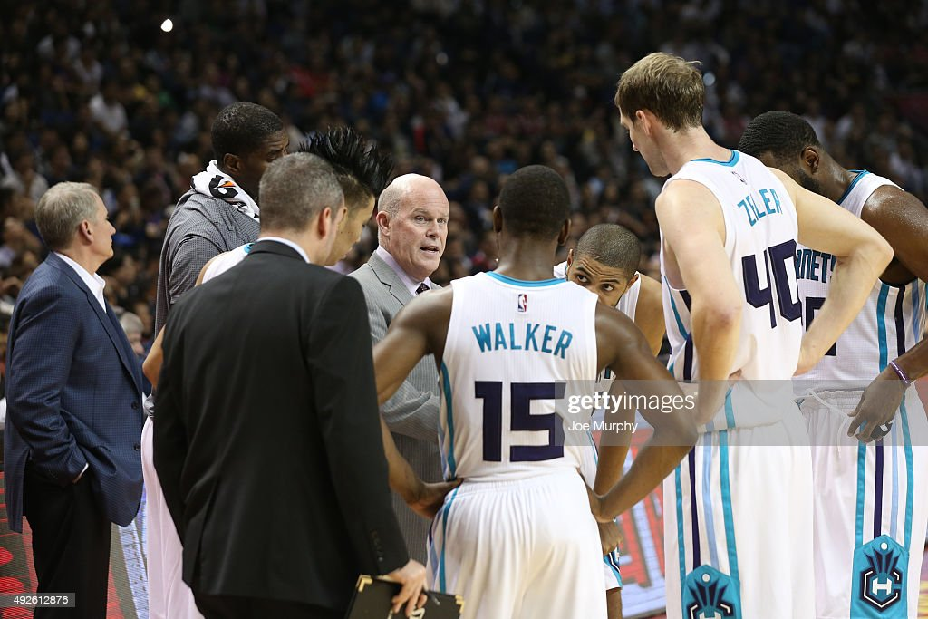 Head Coach Steve Clifford of the Charlotte Hornets during the timeout against the Los Angeles Clippers as part of the 2015 NBA Global Games China at the Mercedes-Benz Arena on October 14, 2015 in Shanghai, China.